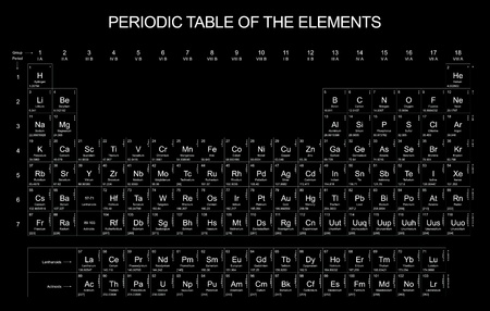 periodic table: Periodic Table of the Elements on black background Stock Photo
