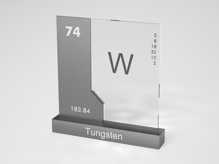 tungsten: Tungsten - symbol W (Wolfram) - chemical element of the periodic table Stock Photo