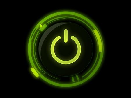 start up: Power button on green light