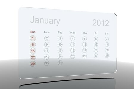 Glass 2012 calendar - January Stock Photo - 10659218