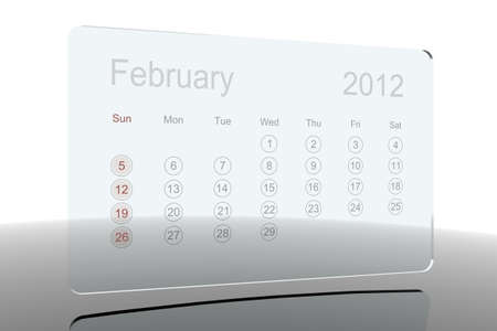 Glass 2012 calendar - February Stock Photo - 10659216