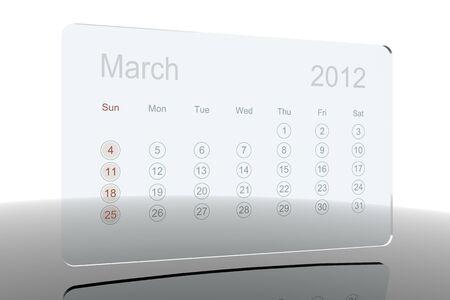 Glass 2012 calendar - March Stock Photo - 10659217