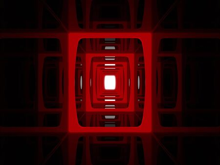 Abstract red corridor to the white light Stock Photo - 10711303