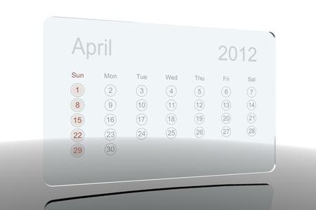 3D Glass Calendar - April 2012 Stock Photo - 10730270