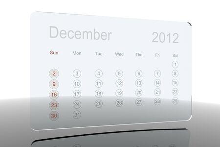 3D Glass Calendar - December 2012 Stock Photo - 10730277