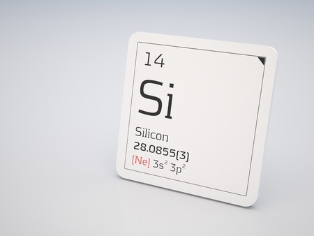 silicio: Silicio - elemento de la tabla periódica Foto de archivo