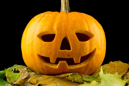 grins: A Halloween pumpkin is a happy and grins