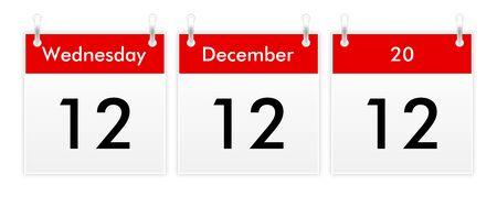 wednesday: 12.12.12 - Unique Day - Wednesday 12 December 2012 Stock Photo