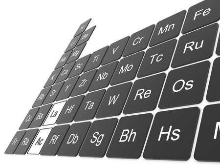 mendeleev: Periodic table on white wall Stock Photo