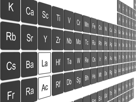 Periodic table on white wall Stock Photo