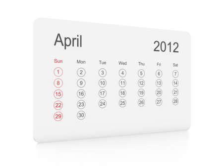 April 2012 simple calendar on a white background photo