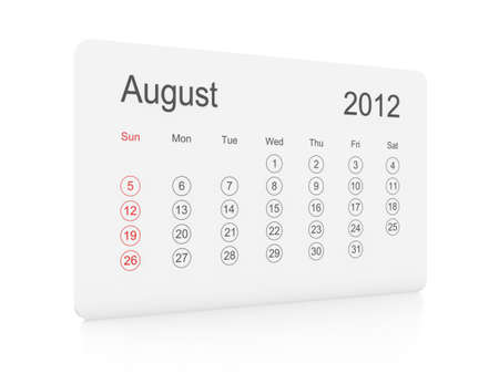 August 2012 simple calendar on a white background photo