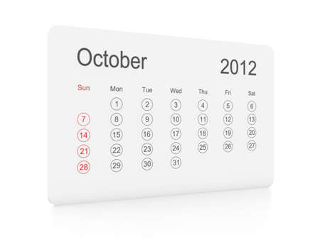 October 2012 simple calendar on a white background photo