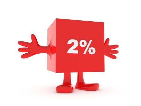 2 Percent discount happy figure Stock Photo - 11503338