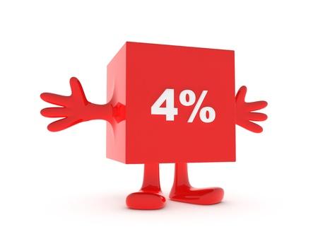4 Percent discount happy figure Stock Photo - 11503337