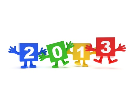 foots: 2013 calendar background - happy colored cubes with hands up Stock Photo