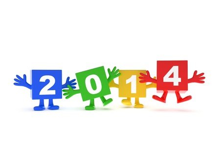 2014 calendar background - happy colored cubes with hands up