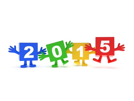 2015 calendar background - happy colored cubes with hands up