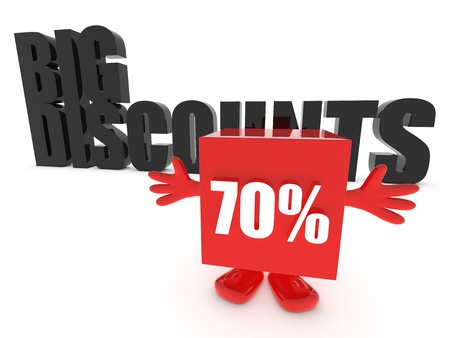 70: Big discounts - up to 70 percent off Stock Photo