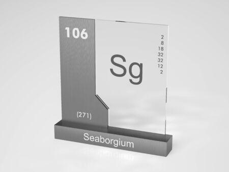 sg: Seaborgium - symbol Sg - chemical element of the periodic table Stock Photo