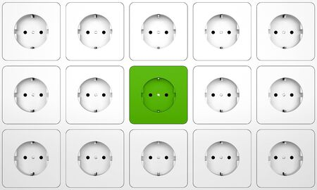 electric plug: Electric plug connector (outlet) on the wall - green energy