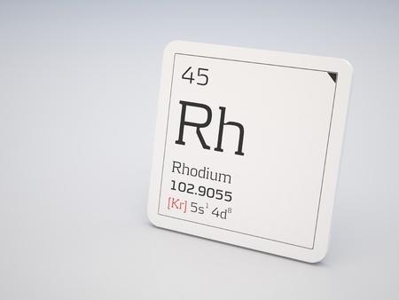 rhodium: Rhodium - element of the periodic table Stock Photo