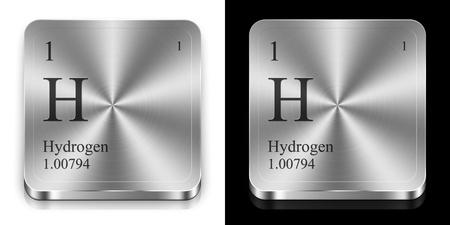 hidrógeno: Hidrógeno - elemento de la tabla periódica, dos botones de la tela de metal Foto de archivo