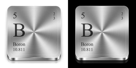 boro: El boro - elemento de la tabla peri�dica, dos botones de la tela de metal