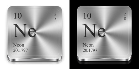 Neon - element of the periodic table, two metal web buttons photo