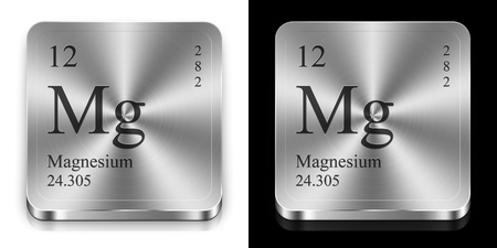 Magnesium: Magnesium - element of the periodic table, two metal web buttons Stock Photo