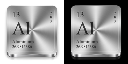 Aluminium - element of the periodic table, two metal web buttons