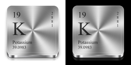 Potassium - element of the periodic table, two metal web buttons photo