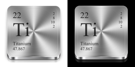 Titanium - element of the periodic table, two metal web buttons photo