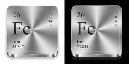 mendeleev: Iron - element of the periodic table, two metal web buttons