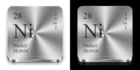 Nickel - element of the periodic table, two metal web buttons Imagens
