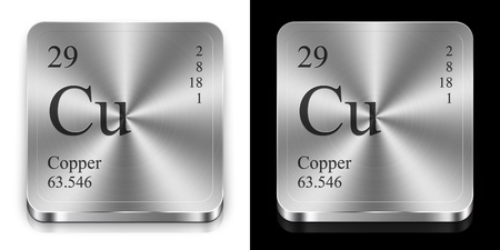 Copper - element of the periodic table, two metal web buttons
