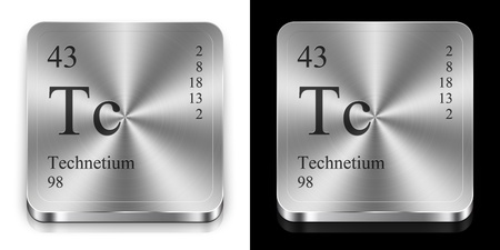Technetium - element of the periodic table, two steel web buttons photo