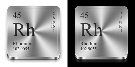 rhodium: Rhodium - element of the periodic table, two steel web buttons Stock Photo