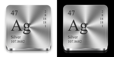 Silver - element of the periodic table, two steel web buttons photo
