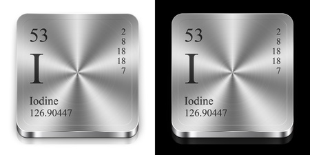 iodine: Iodine - element of the periodic table, two steel web buttons
