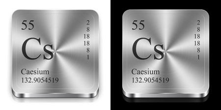 caesium: Caesium - element of the periodic table, two steel web buttons