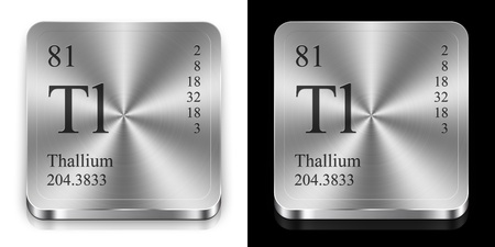 Thallium - element of the periodic table, two steel web buttons photo