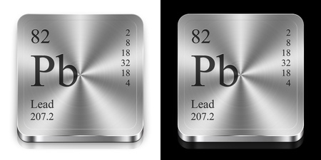 Lead - element of the periodic table, two steel web buttons photo