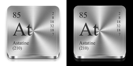 3d button: Astatine - element of the periodic table, two steel web buttons