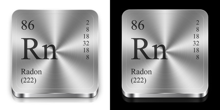 radon: Radon - element of the periodic table, two steel web buttons