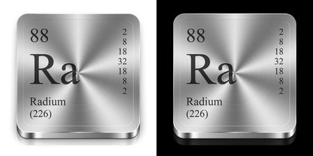 radium: Radium - element of the periodic table, two steel web buttons