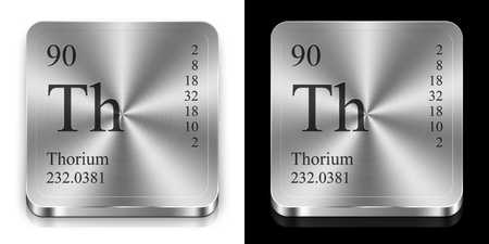 Thorium - element of the periodic table, two steel web buttons photo