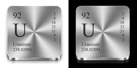 Uranium - element of the periodic table, two metal web buttons Stock Photo