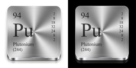 Plutonium - element of the periodic table, two metal web buttons photo