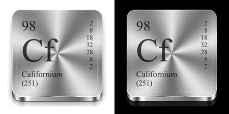 Californium - element of the periodic table, two metal web buttons photo